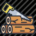 camping, saw, sawing, wood