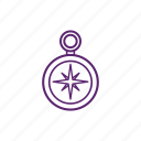 accessories, camping, compass, direction icon