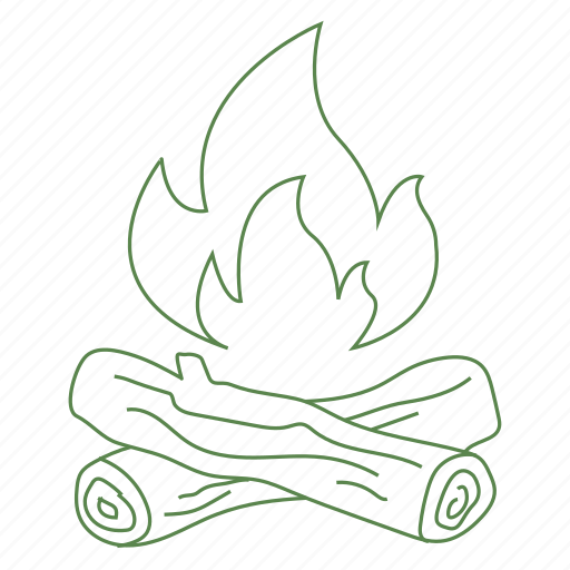 camp, camp fire, fire, flame, logs, wood icon