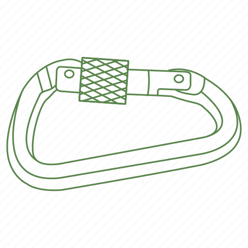 camp, carabiner, climb, hook, latch, secure, tool icon
