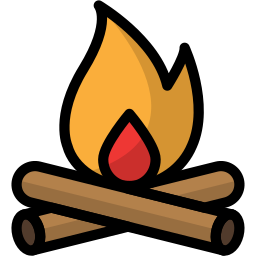 bonfire, camping, fire, flame, light, outdoor icon