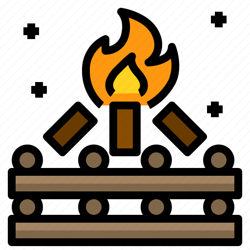camp, campfire, fire, night, wood icon