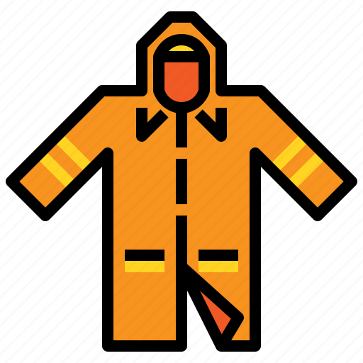 rain, raincoat, rainy, weather, yellow icon