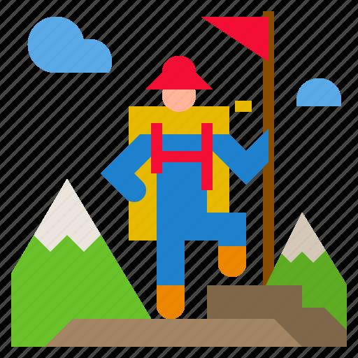 adventure, hiking, journey, travel, trekking icon