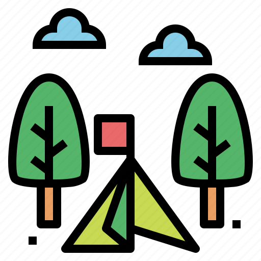 camping, tent, travel icon