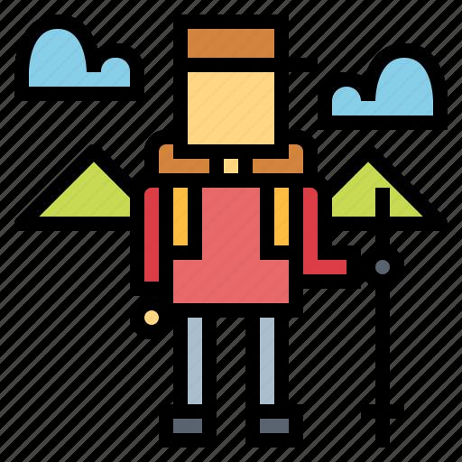 backpack, hiker, walker icon