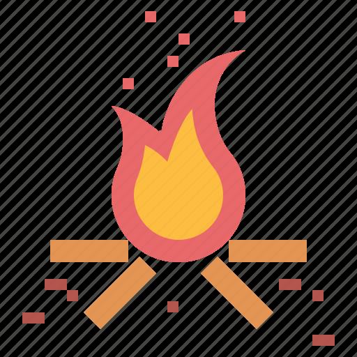 bonfire, burn, fire icon