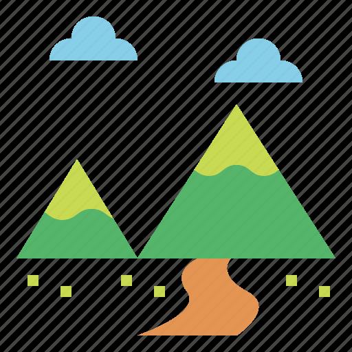 landscape, mountain, travel icon