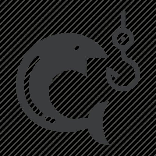 camping, fish, fishing, holiday, hook, outdoors, vacation icon