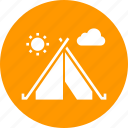 adventure, camping, forest, hiking, outdoors, tent, travel icon