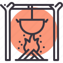 bonfire, campfire, camping, cook, fire, outdoors, wood icon