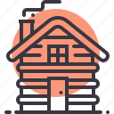 cabin, camping, cottage, house, outdoor, stay, wood icon