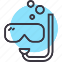 dive, equipment, googles, scuba diving, sea, snorkel, underwater icon