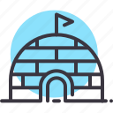eskimo, icehouse, igloo, pole, snow, travel, voyage icon