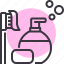 bath, hotel, lotion, shampoo, soap, toiletries, toothbrush icon