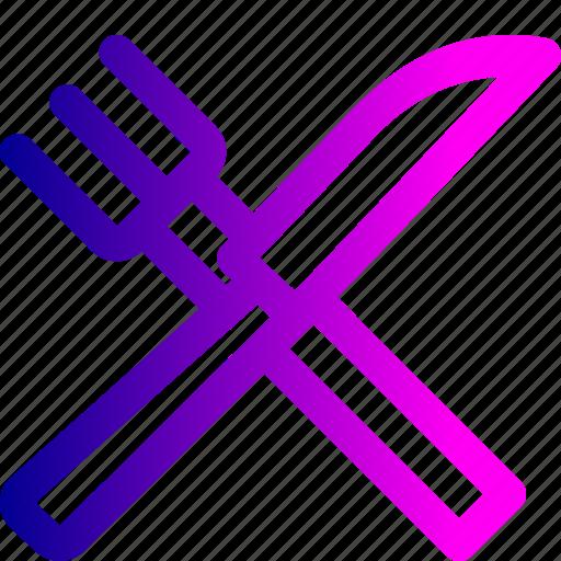 fork, kitchen, knife, restaurant, tool, utensile icon