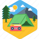 camp, camping, holiday, relax, relaxation, sunny day, tent icon