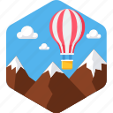 activity, camping, flying, hot air balloon, hotair, hotairballoon, outdoor icon