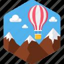 activity, camping, flying, hot air balloon, hotair, hotairballoon, outdoor icon