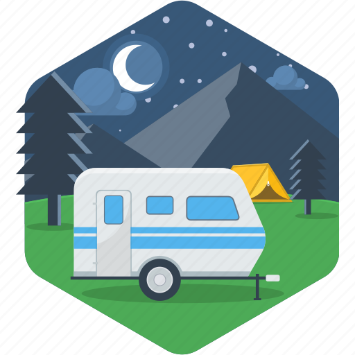 camp, camping, car, moon, night, van, vanity icon