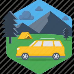activity, camp, camping, car, outdoor, tent, van icon