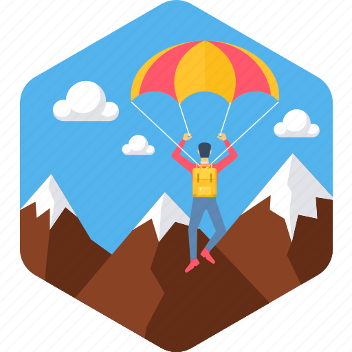 abroad, outdoor, parachute, paraglider, paragliding, sky icon