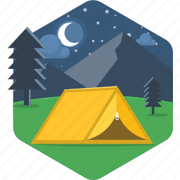 camp, camping, night, night camp, outdoor, tent icon