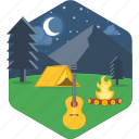 bonfire, camp, campfire, flame, music, musical, night icon
