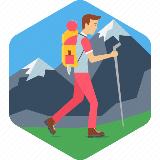 adventure, hill, mountain, tracking, traveling, travelling icon