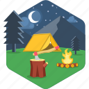 bonfire, camp, campfire, camping, night, tent icon