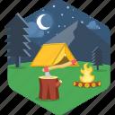 campfire, night, bonfire, camp, camping, tent