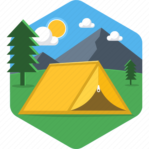 adventure, camp, camping, cloud, house, sky, tent icon