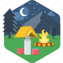 bonfire, campfire, holiday, outdoor, outdoors, picnic, vacation icon