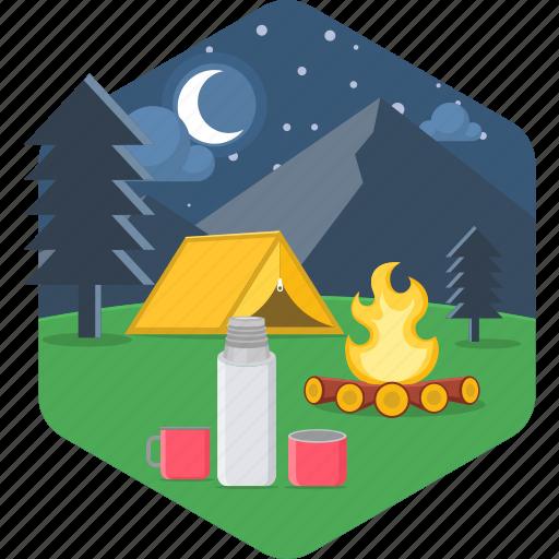 bonfire, campfire, holiday, outdoor, outdoors, picnic, vacation icon