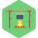 bonfire, campfire, cooking, fire, food, kitchen icon