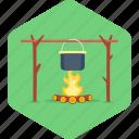 bonfire, cooking, campfire, fire, food, kitchen