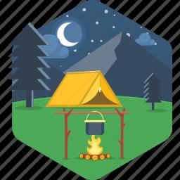 adventure, bonfire, campfire, cooking, moon, night, tent icon