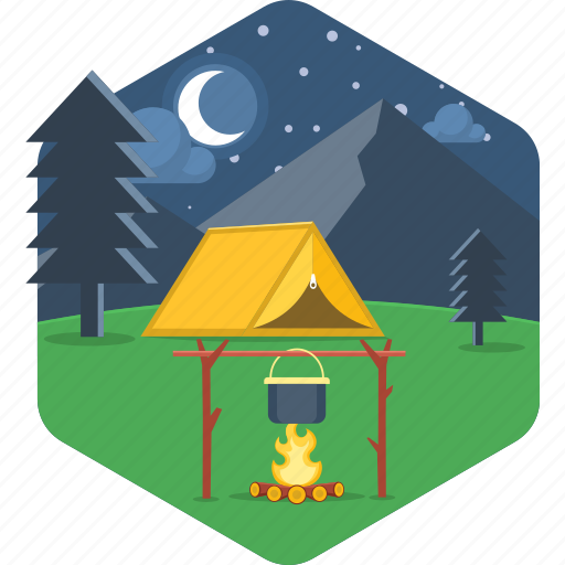 adventure, bonfire, campfire, cooking, moon, night, tent icon