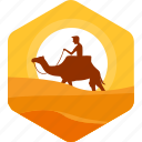 adventure, camel, camp, camping, desert, ride, riding icon