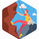 adventure, adventurous, climb, climbing, landscape, man, mountain icon