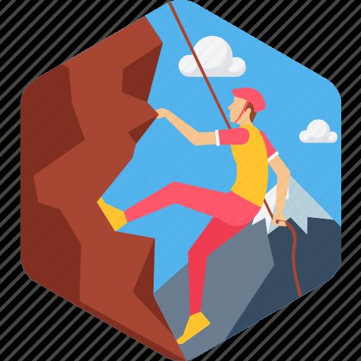 adventure, adventurous, climb, climbing, landscape, man, mountain icon