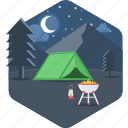 camp, camping, moon, night, outdoor, outdoors, picnic icon