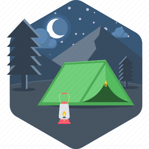 camp, camping, lantern, moon, night, outdoor, tent icon