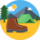 camp, camping, picnic, shoe, outdoors, tent, travel