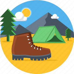 camp, camping, outdoors, picnic, shoe, tent, travel icon