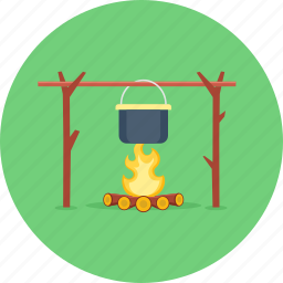 camping, cooking, fire, food, picnic, stove, survival icon