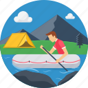 adventure, boat, boating, man, picnic, sailboat, sailing icon