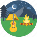 campfire, camping, moon, music, night, picnic, vaction icon