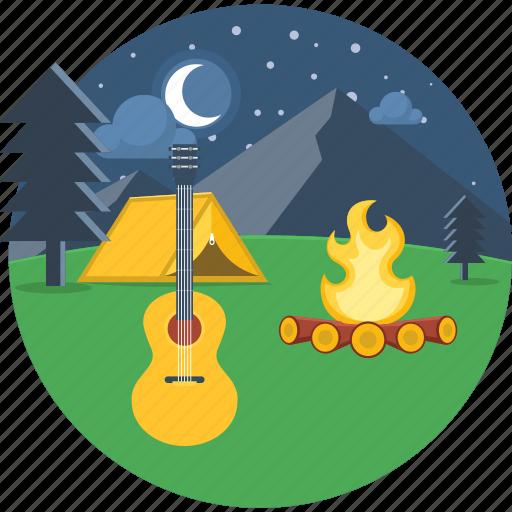 campfire, camping, moon, music, night, picnic, vaction icon