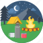 camp, campfire, enjoyement, night, picnic, sports drink bottle, tent icon